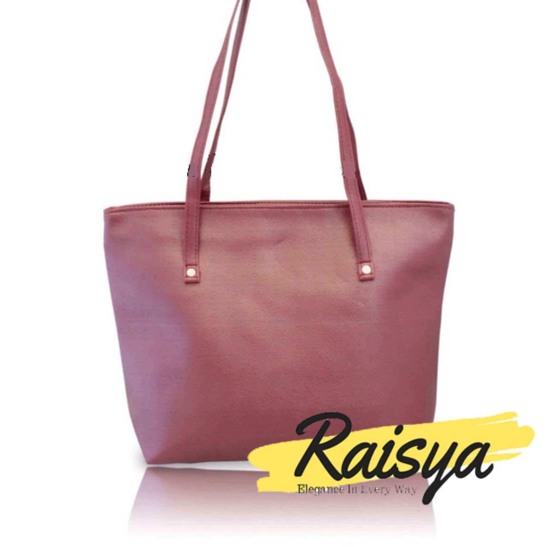 Raisya Tas Fashion New Tote Bag Kulit Polos - Maroon