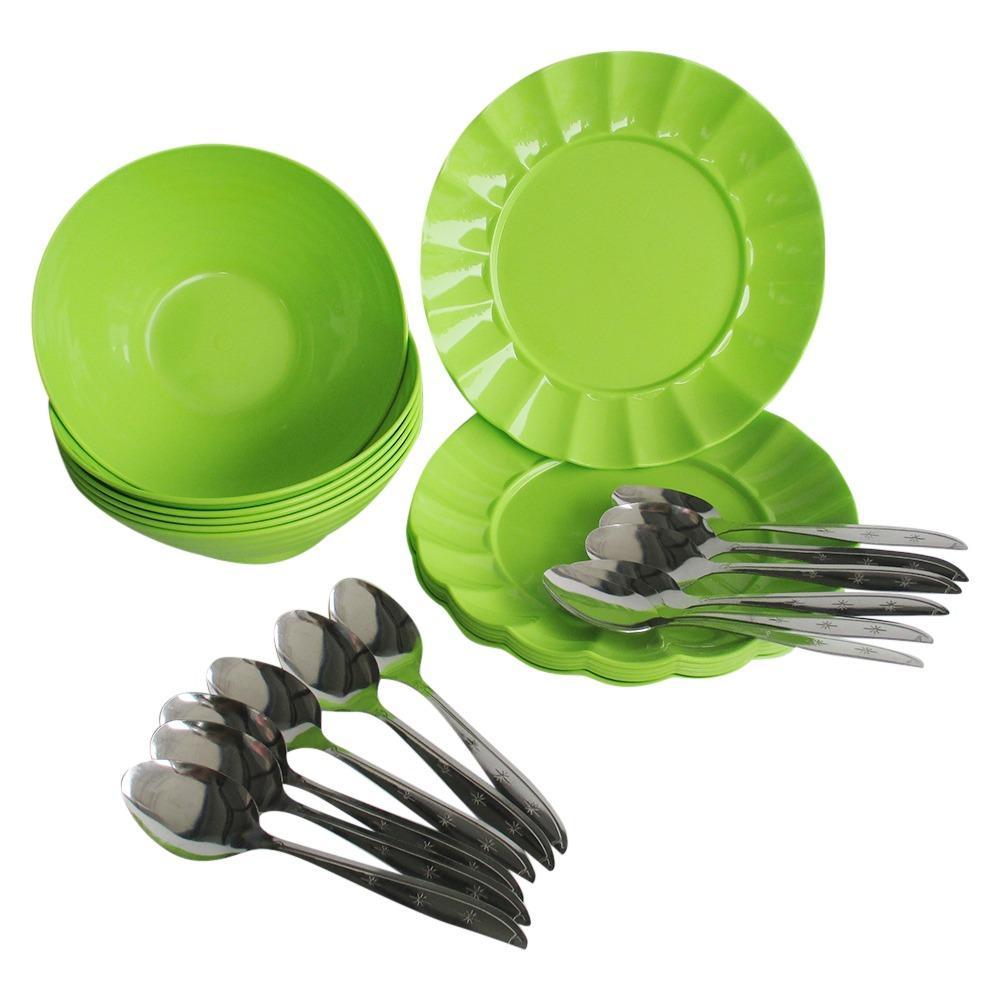 Mitra Loka Mangkok Mie Dan Bakso 6 + Piring makan Plastik 6 + Sendok Makan 12 / Sendok Stainless / Sendok Murah / Piring Cantik / Piring Makan / Mangkok Plastik / Mangkok Sup / Dapur Murah