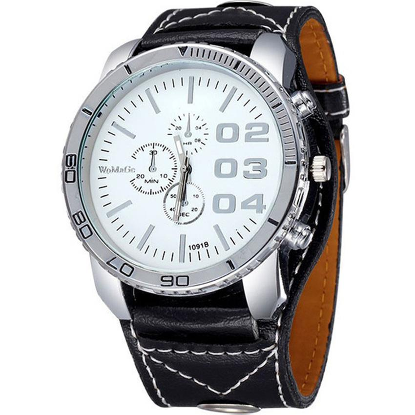 WoMage Jam Tangan Pria Big Dial WMG Button Watch Strap Kulit - Hitam Putih