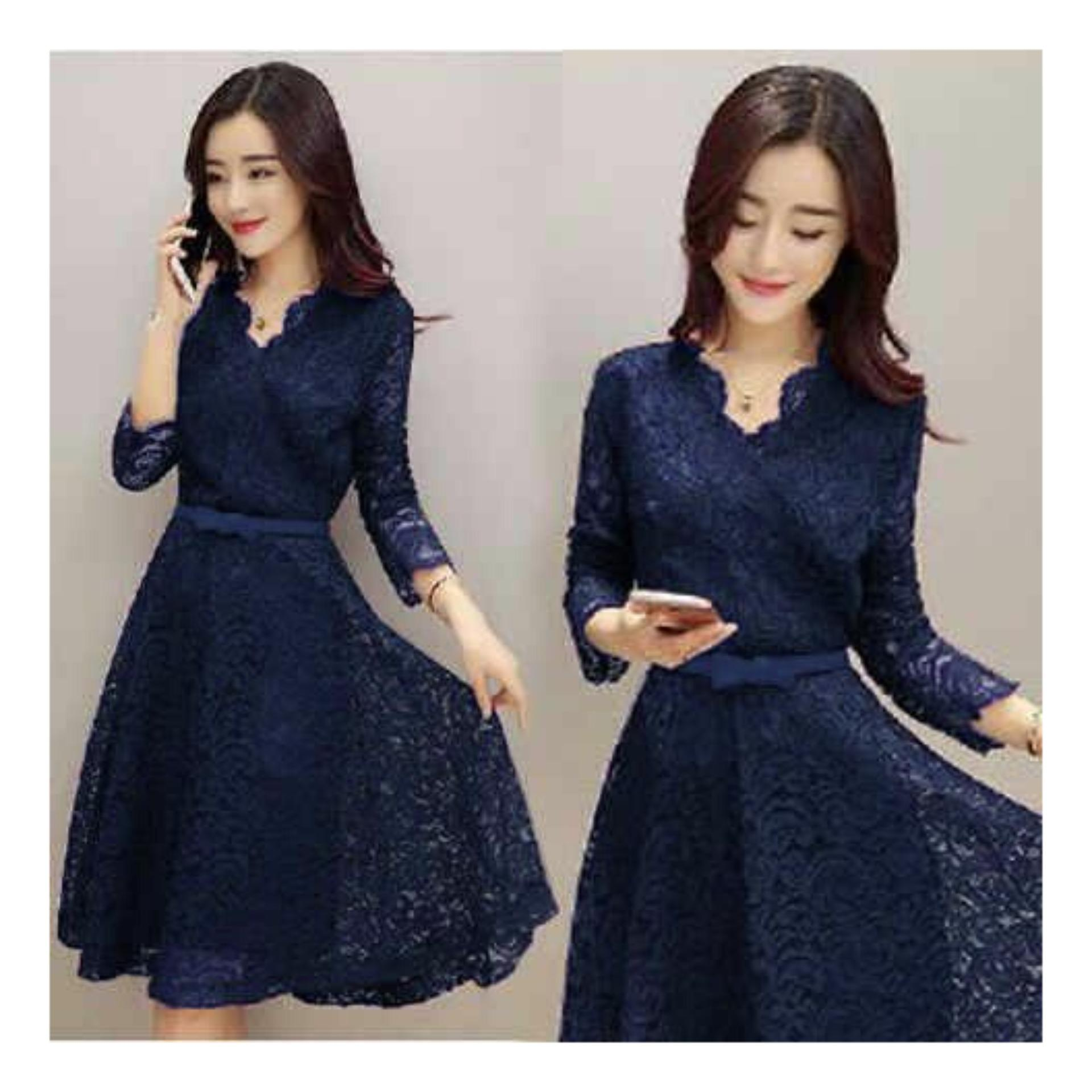Shopping Yukz Dress Brukat Wanita SHABBY / Dress Korea / Dress Renda / Lace Dress /