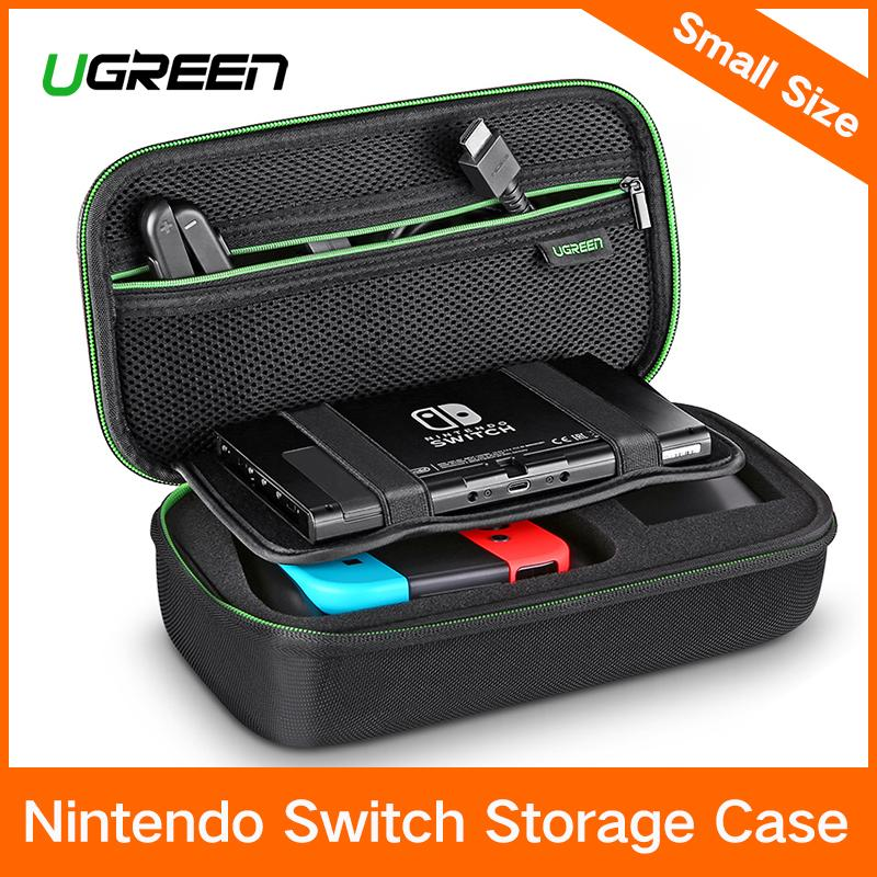 UGREEN Shockproof Case for Nintendo Switch Travel Carrying Case Bag Pouch with Carved EVA Liner, for Nintendo Switch Console, AC Wall Charger, Grip and Joy-con, 10 Games Cards, Strapes-Small Size