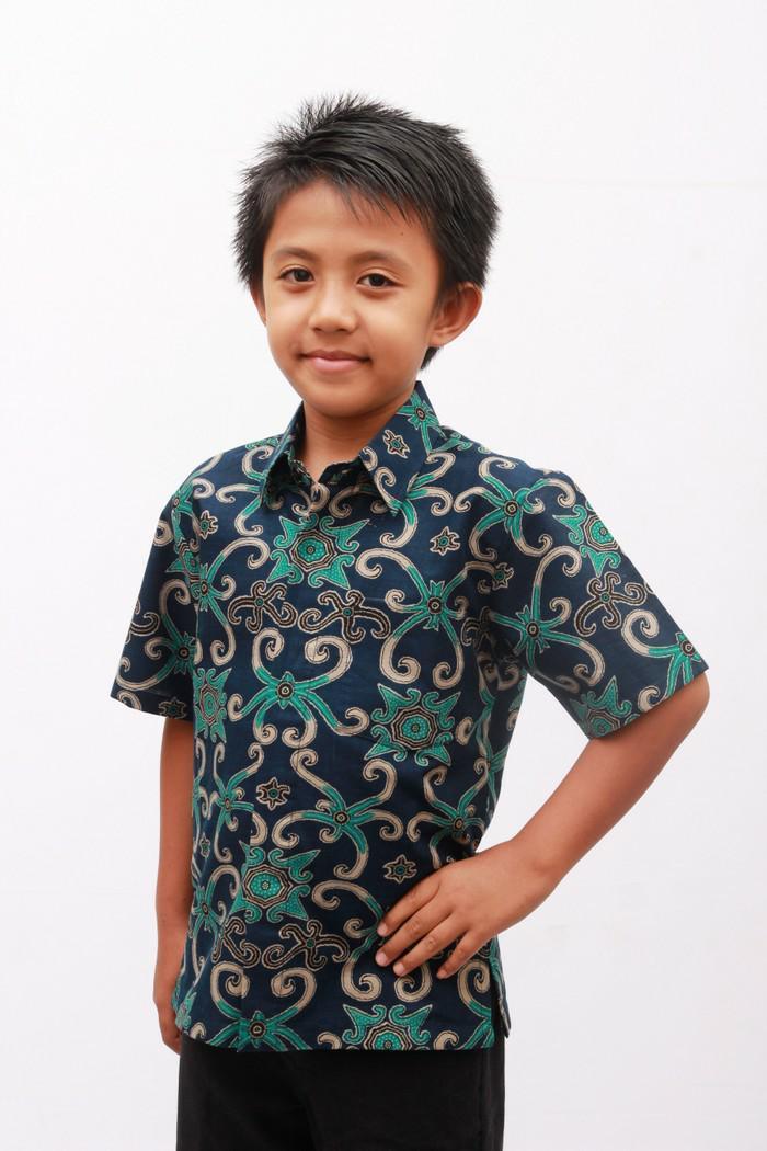 kemeja batik laki /batik cowok/ kemeja batik anak - 2-3 tahun, Navy