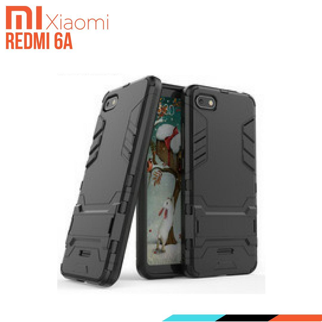 Xiaomi Redmi 6A Case Ironman Hybrid With Kick Stand - BLACK