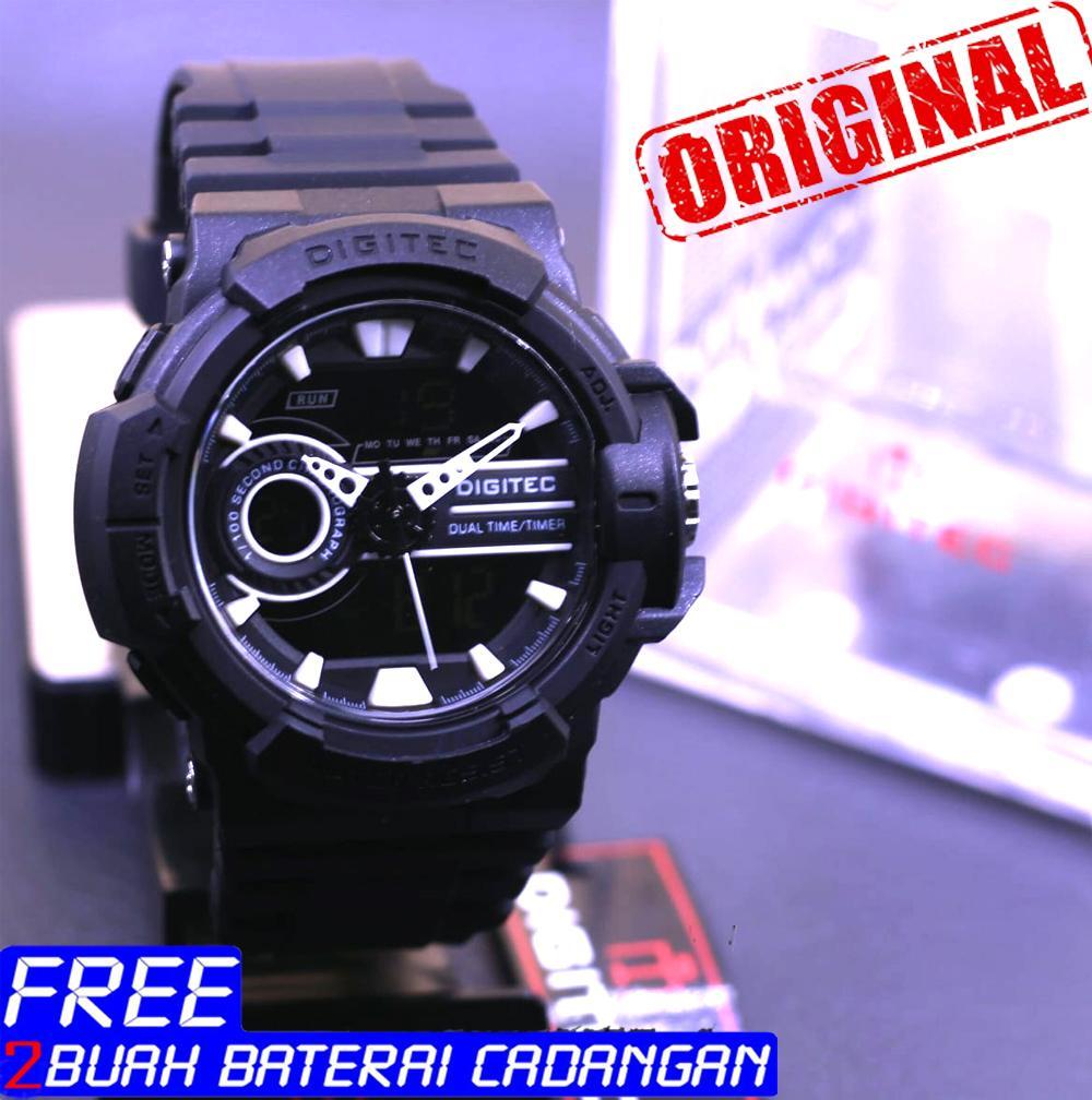 Jam Tangan Digitec Pria Casio G Shock Dobel Time Tahan Air Black List Orange Original Water Resist Model Terbaru Strap Karet