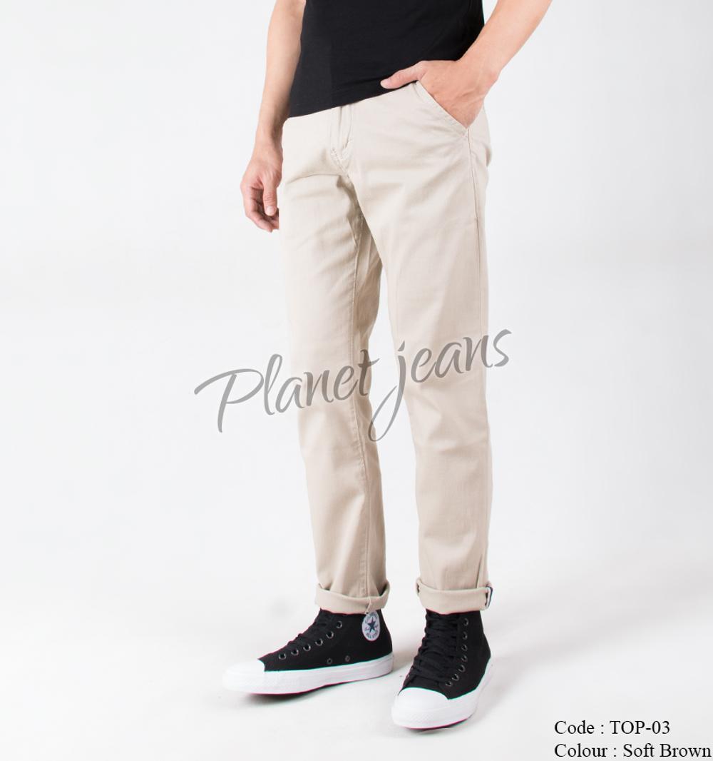 Daftar Harga Celana Cowok Warna Cream Terbaru Bulan November 2018 Panjang Chino Krem Polos Pria Premium Model Slimfit Pants Top03 Soft