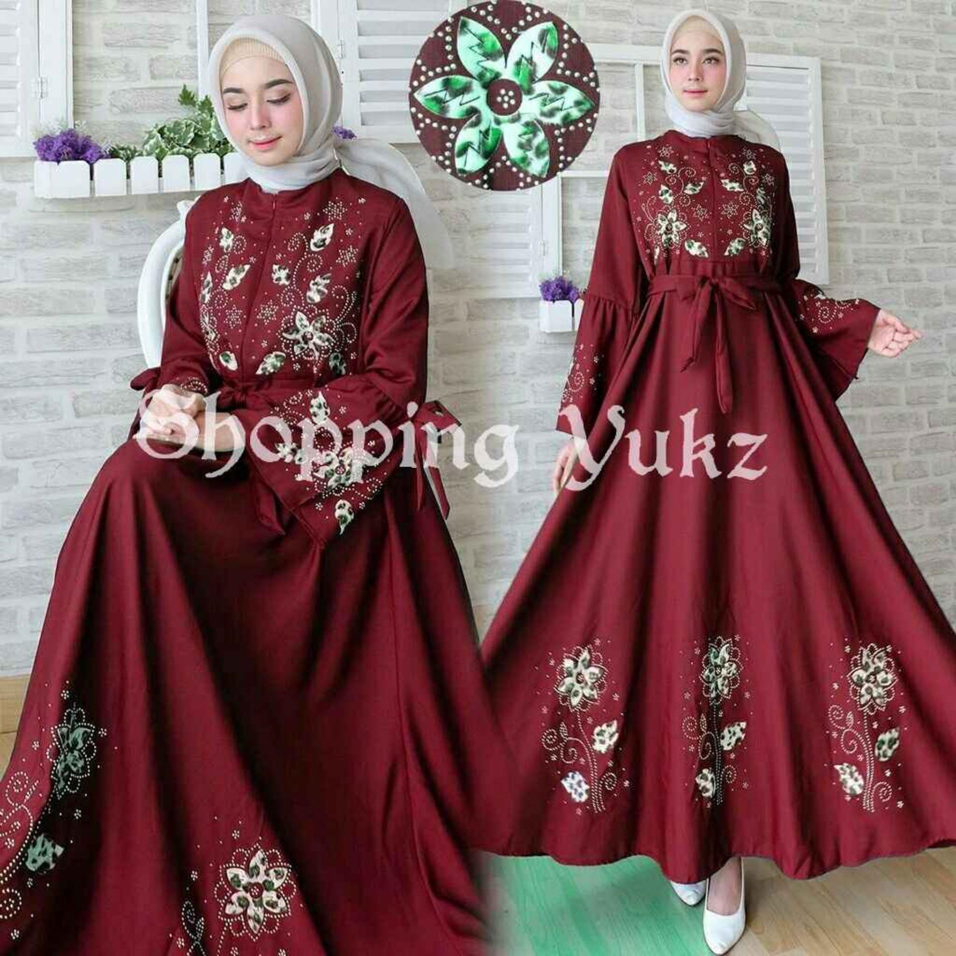 Shopping Yukz Baju Gamis Dress Muslim Syari Wanita MAXI FLOWER MAROON ( Tanpa Jilbab ) / Hijab Muslimah / Baju Muslimah Wanita / Syari Syari'i Muslim / Gaun Muslim / Long Dress Muslimah Wanita