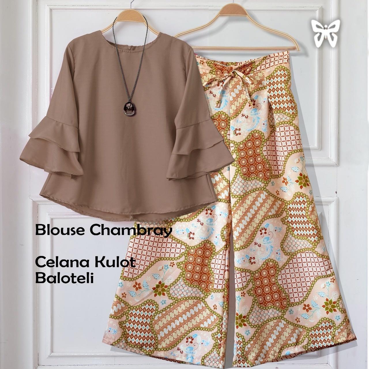 Flavia Store Setelan Wanita Batik FS0285 - COKLAT MOCCA / Stelan Muslimah / Atasan Baju Blouse Kemeja Lengan Panjang Terompet Bawahan Celana Kulot Muslim / Srshania