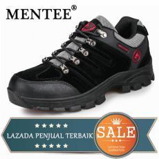 MENTEE Ukuran Besar 38-46 Pria Sepatu Hiking Sepatu Trekking Climbing Sapi Suede Olahraga Sneakers