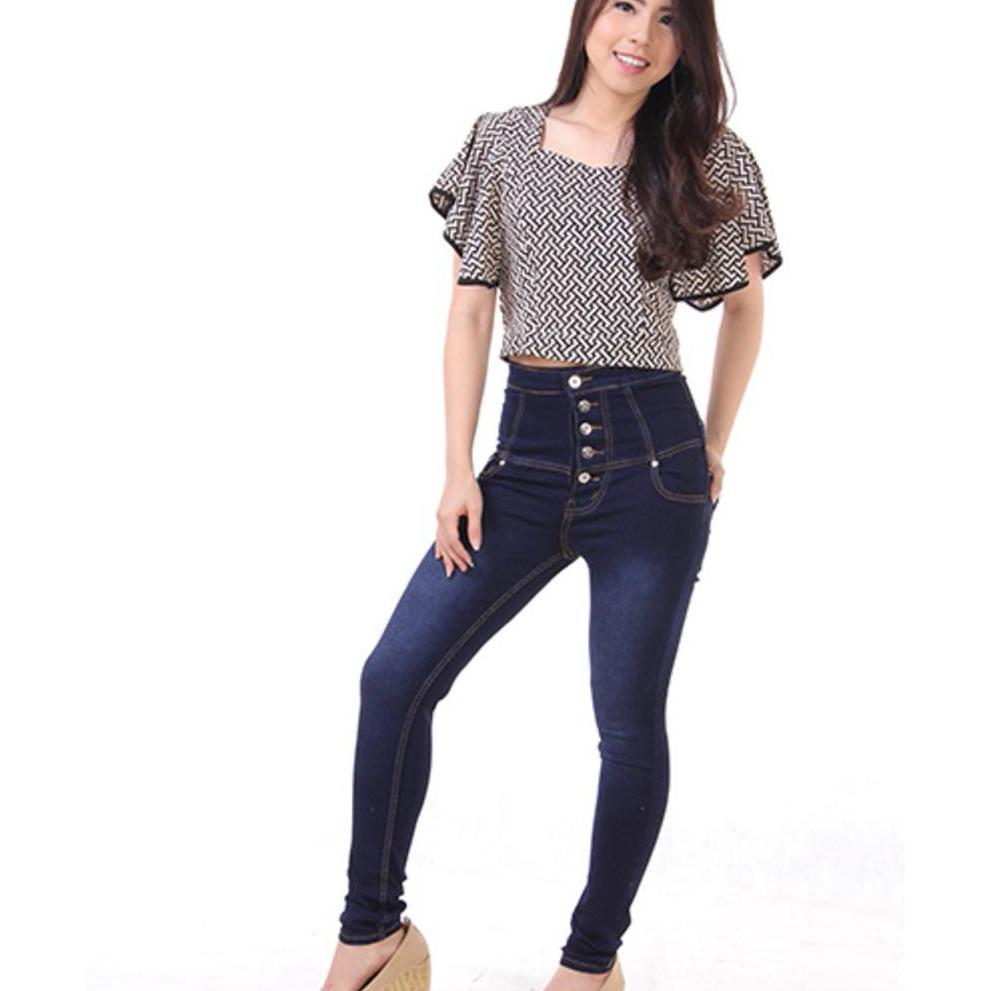 JSK Celana panjang wanita highwaist jeans 5 Button HQ 3 warna