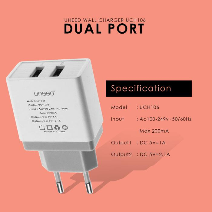 UNEED Dual USB Wall Charger Fast Charging 2.1A - UCH106 - Original