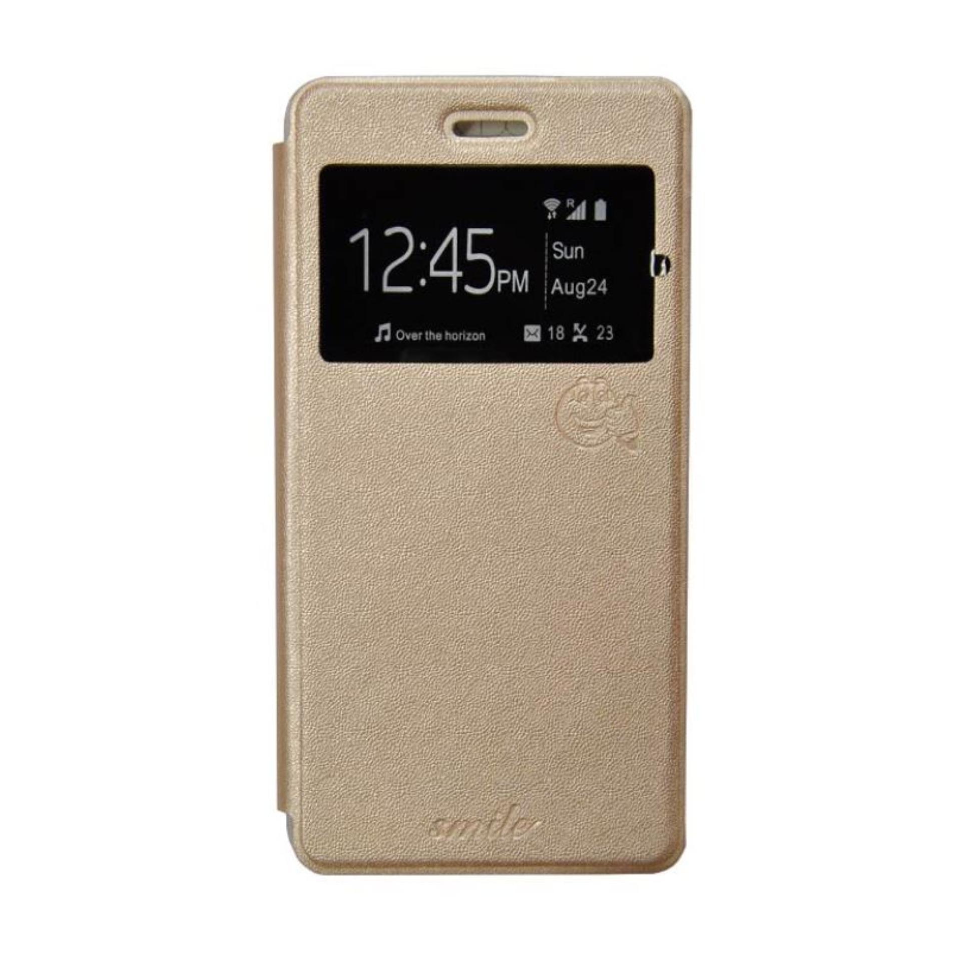 Aldora Case For LG K4 Flip Cover Case Dengan Pelindung Layar Smile Series - Gold