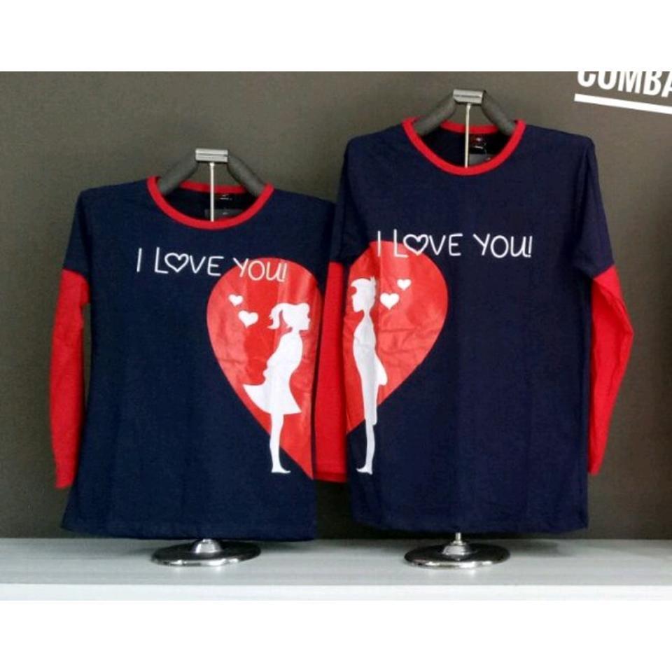 MT'COUPLE - Kaos Couple Kombinasi Lp. LOVE VALENTINE Navi  Busana Pasangan  Kaos Pasangan  Kaos Oblong  T-Shirt