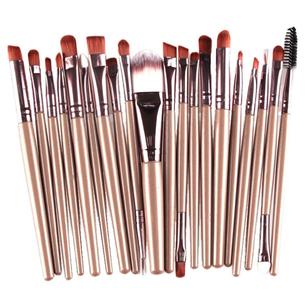 20 Buah Set Kuas Makeup Kosmetik Profesional dengan Pegangan Plastik - Random