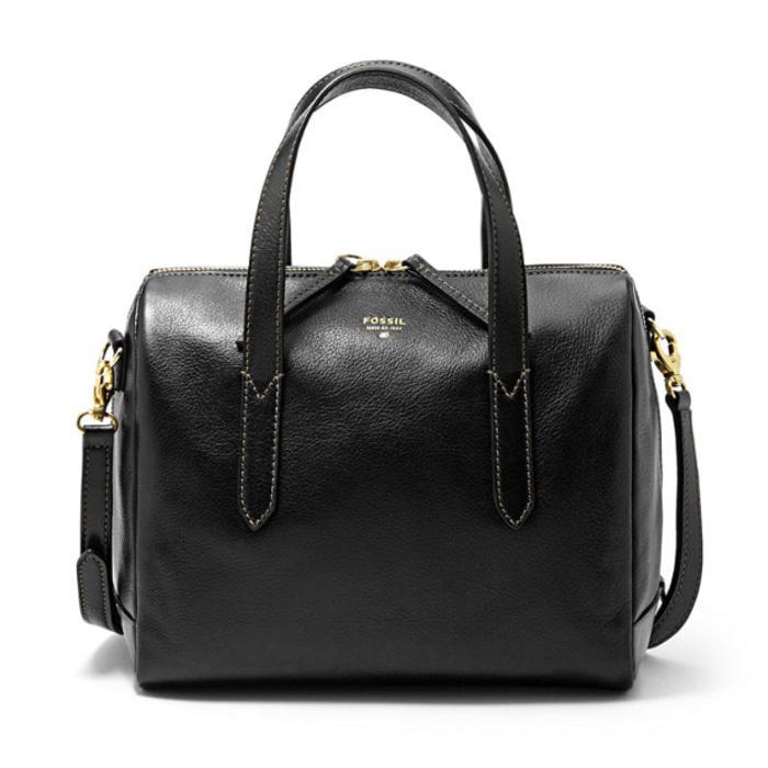 DISKON Fossil Sydney Satchel Black - Tas Branded Leather Ori Original