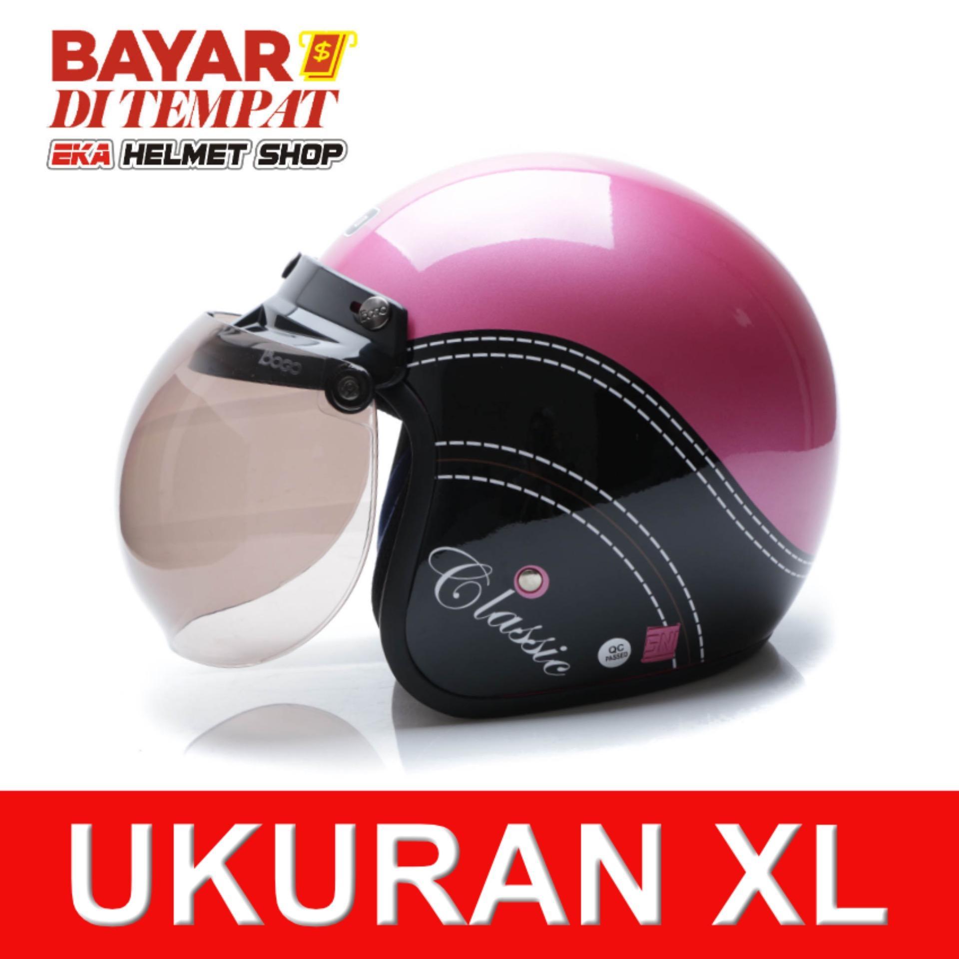 WTO Helmet Retro Bogo - Classic - Pink Hitam