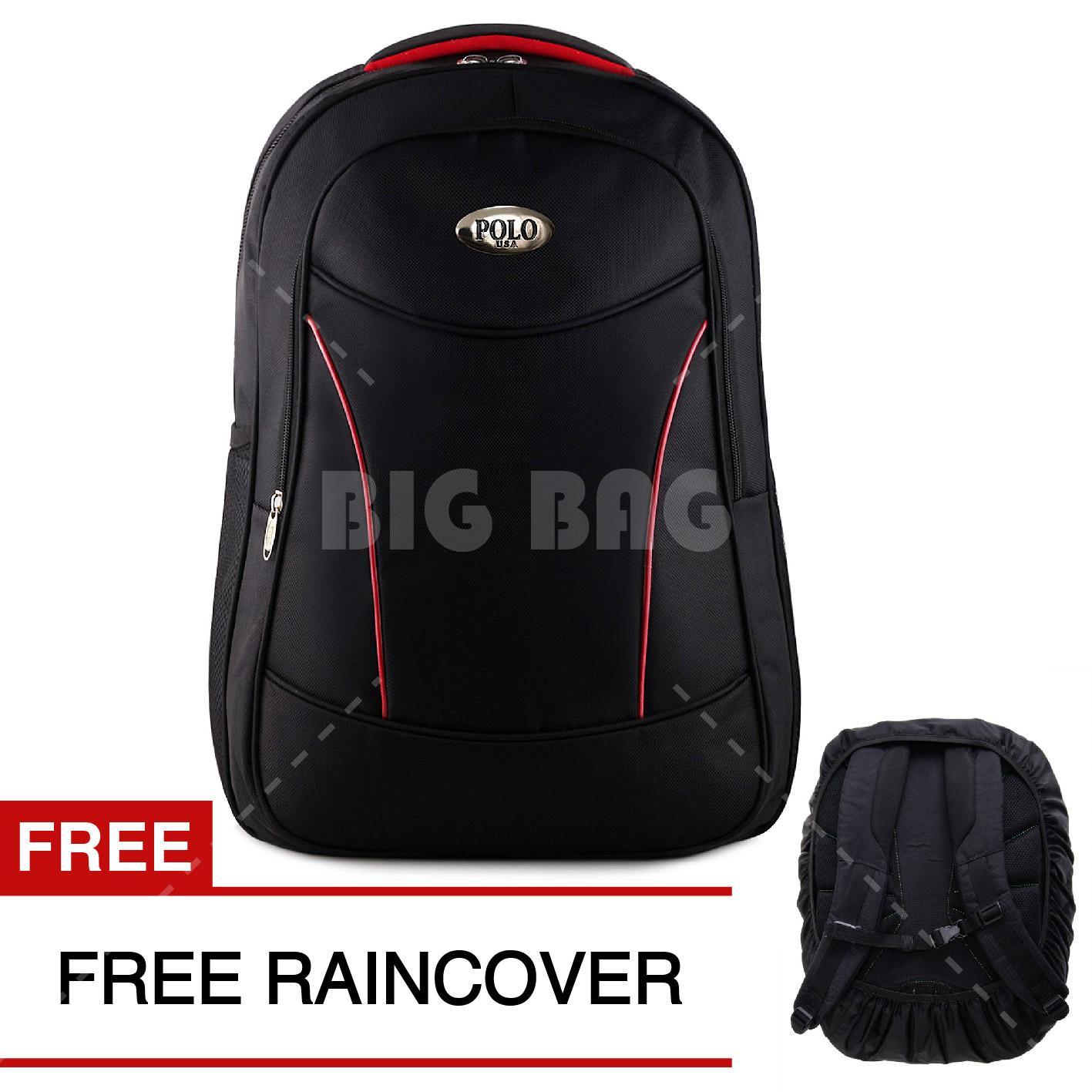Tas Ransel Polo USA Black Vertex VT Tas Laptop Backpack + FREE Raincover Tas Pria Tas Kerja Tas Sekolah Tas Fashion Pria