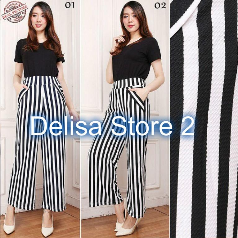 Celana Kulot panjang Wanita Salur Garis Putih (Delisa Store 2)