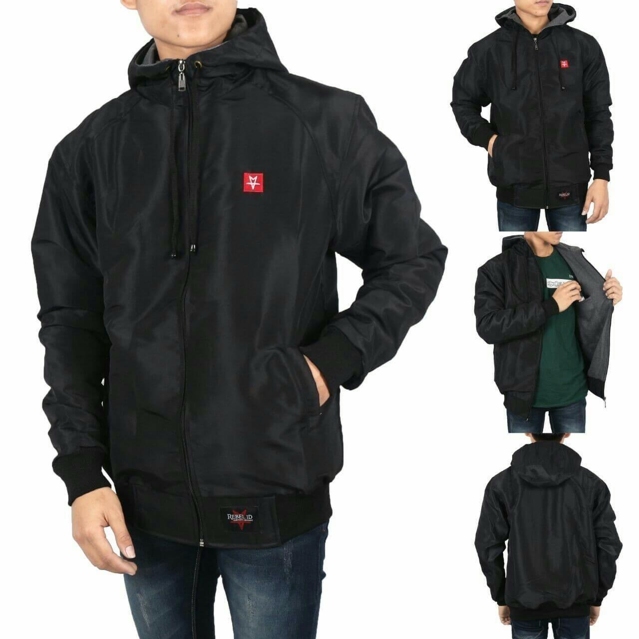 Jaket Taslan Waterproof New Edition Black - Oenzie Store
