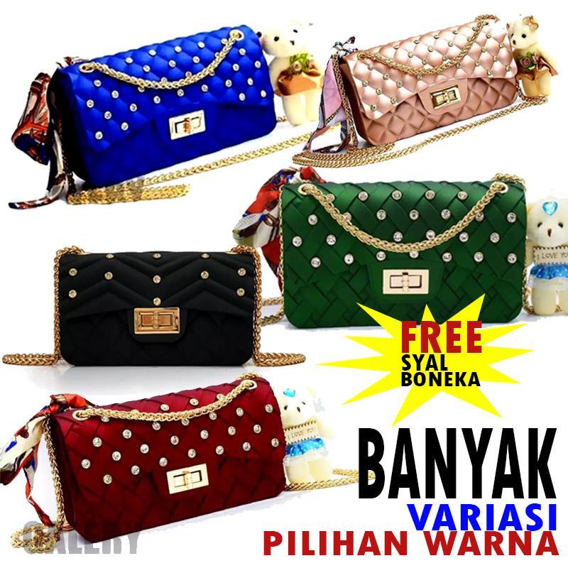 66d98dd623e4 galery shop-tas jelly matte mini diamond BISA BAYAR DITEMPAT free SYAL  BONEKA tas wanita
