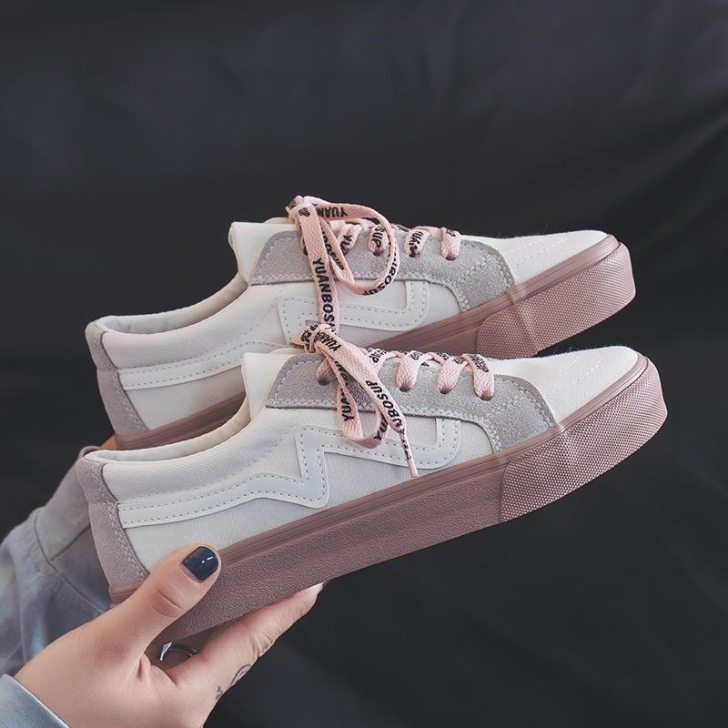 Sepatu kanvas wanita 2019 musim semi model baru sepatu murid harajuku ulzzang sepatu rendah netral putih