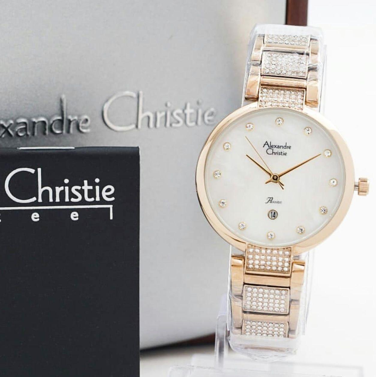 Alexandre Christie AC2685 Original Jam Tangan Wanita Stainless Steel Soft Rosegold