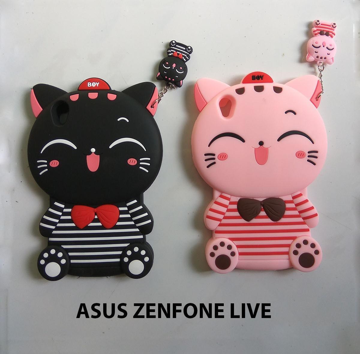 3D Case Kucing Asus Zenfone Live ZB501KL Casing Cover Karakter Silikon Softcase 4D Cat Case Karakte