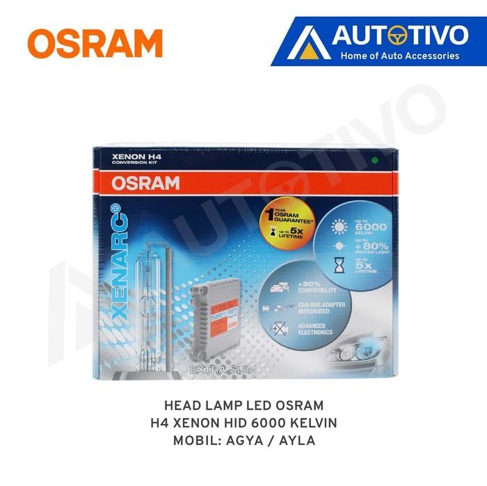 Toyota Agya/Ayla Osram Lampu Depan (Head Lamp) Xenon HID H4 6000K