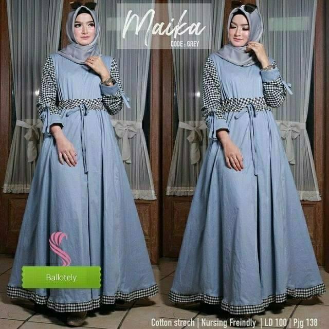 DRESS JUMBO MAIKA TERMURAH (gamis,dress,baju muslim.gamis pesta, grosir bandung,syari,baju murah) abu