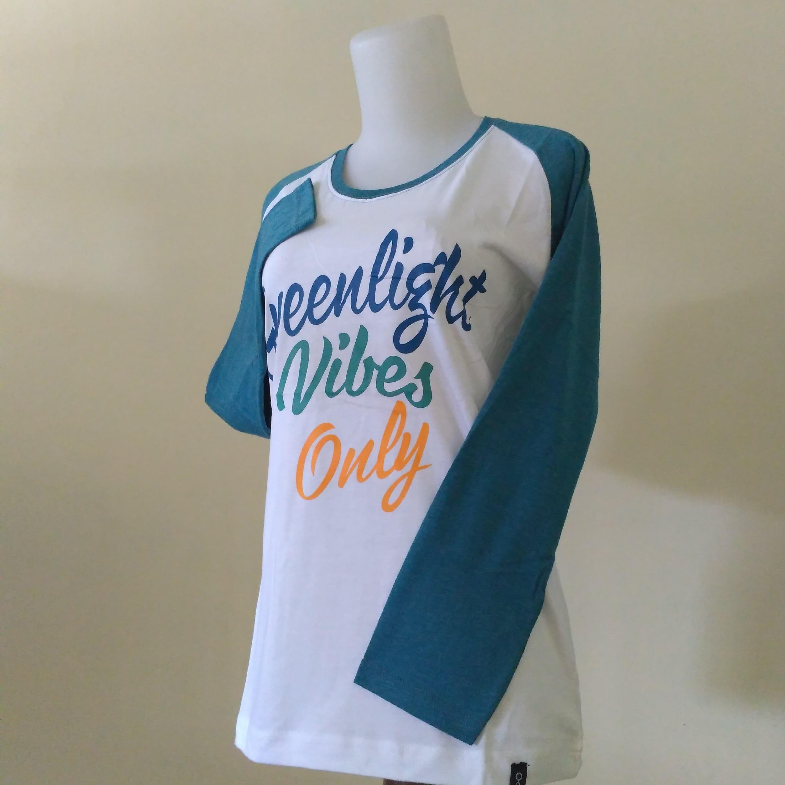 Kaos Wanita Lengan Panjang Greenlight Tshirt Distro Bandung Size M L XL Free Stiker Atasan