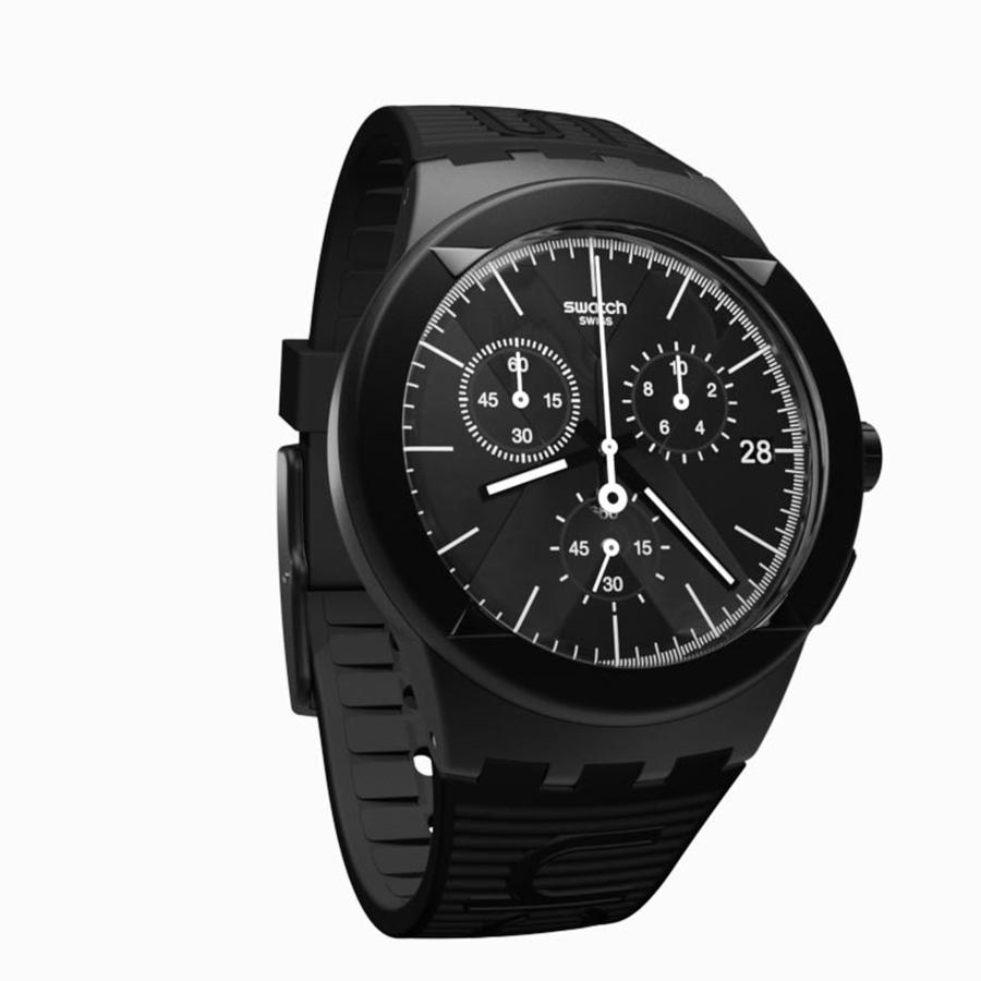 Swatch Silicone Strap Mens SUSB413-1190D42HTM Chronograph Hitam