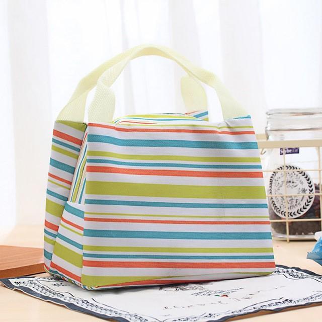 Lunch Bag Cooler Bag Motif Salur/Garis Tas Bekal Makanan Panas Dingin atau Tas Asi  - Hijau