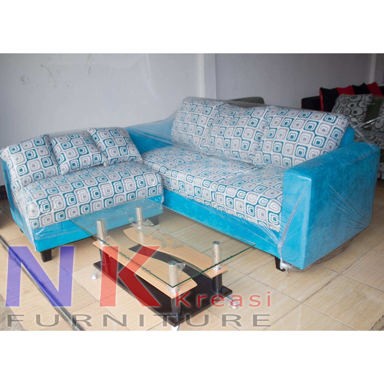 Sofa kursi Ruang Tamu L Minimalis ( sofa sudut amorist ) + MEJA TAMU - JABODETABEK ONLY