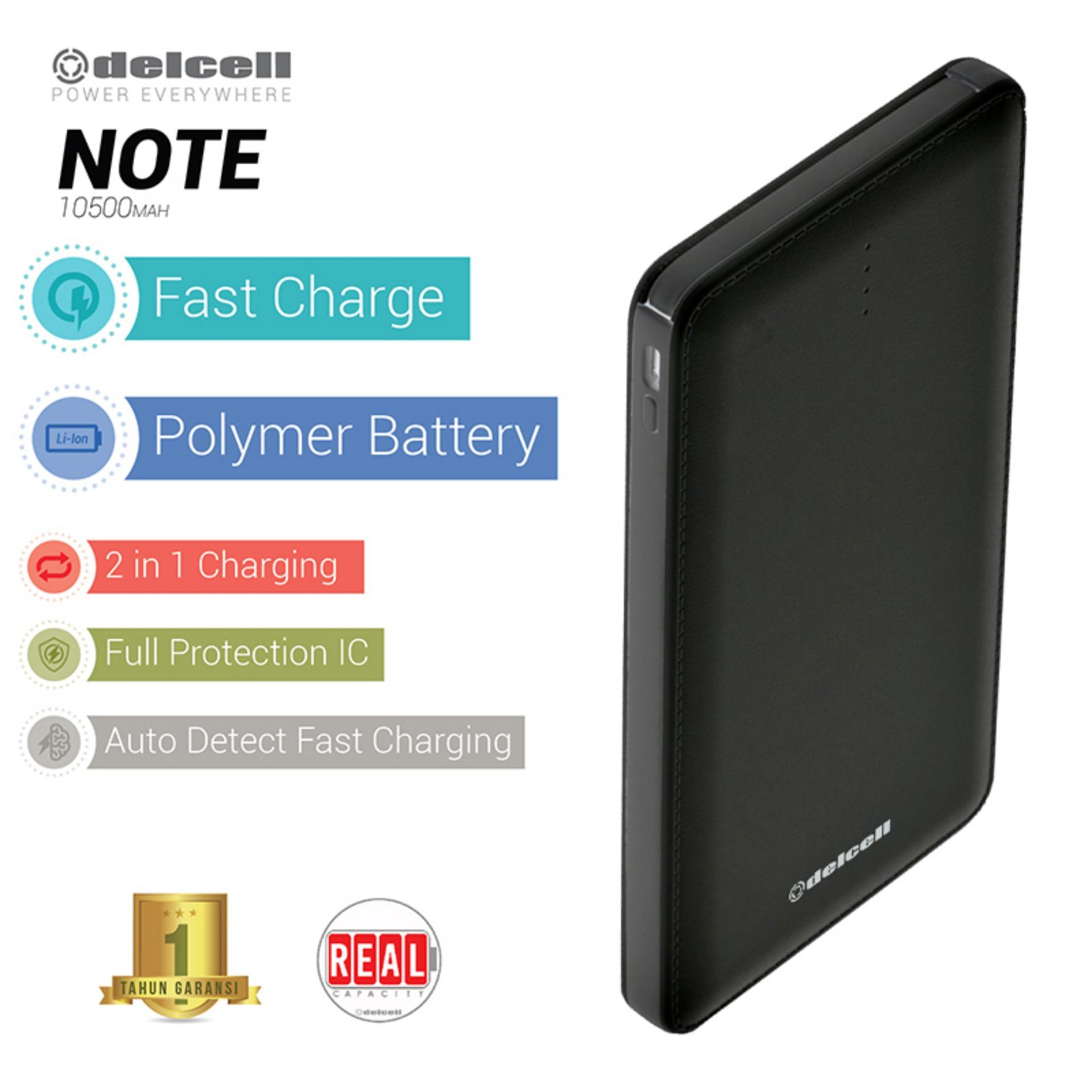 Delcell 10500mAh Powerbank NOTE Real Capacity Slim Powerbank Polymer Battery Build in Cable Fast Charging Garansi Resmi 1 Tahun Power Bank Murah Berkualitas  - Hitam