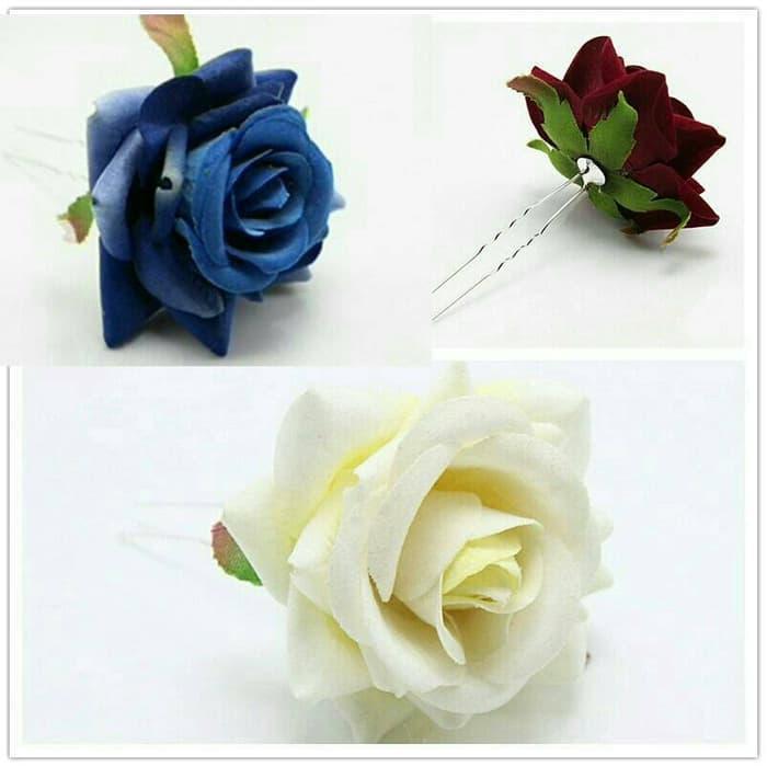 Jepit Pin Cucuk Tusuk Gelung Rambut Konde Sanggul Bunga Daun Cantik Rose Flower Hair Pins U Shaped Wedding Hair Clips Photo Shoot Flowers