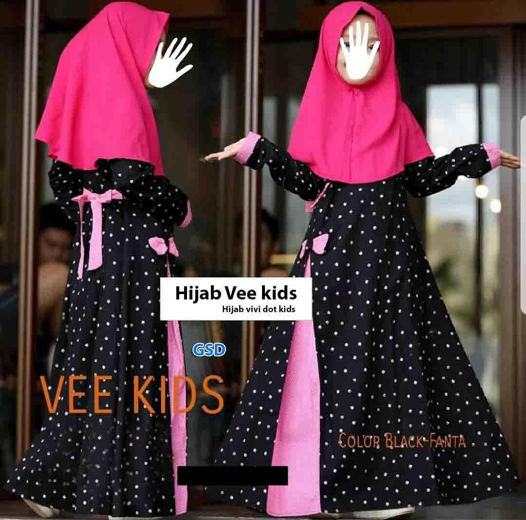 GSD-Baju Gamis Anak / Baju Muslim Anak / Baju Anak Cewek / Baju Anak / Dress Anak / Hijab Vivi Kids