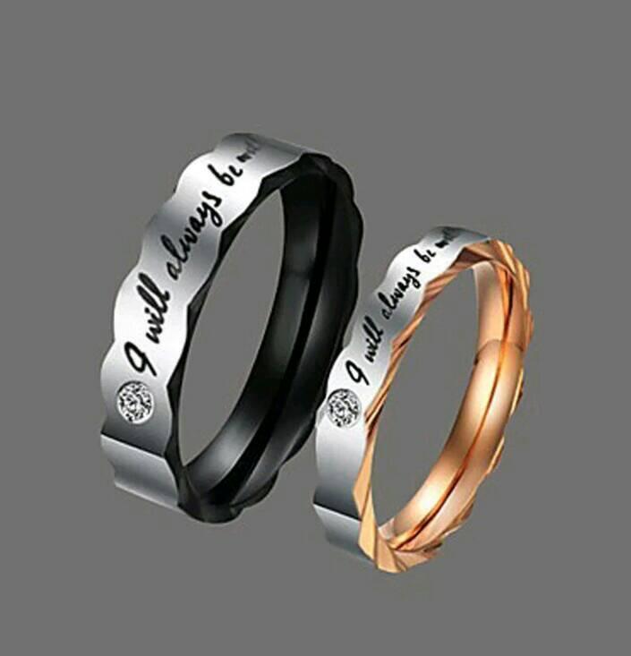 NEW Promo Perhiasan Cincin Tunangan Couple Titanium Steel Black&Gold Lovers Murah
