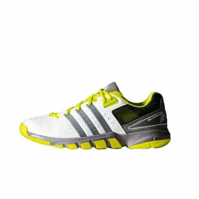 sepatu adidas New Quick Force 7 White Yellow badminton Shoes Original