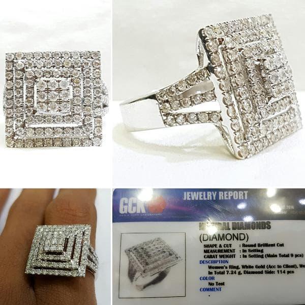 Cincin Emas Putih 7,24gram Berlian Eropa 114pcs