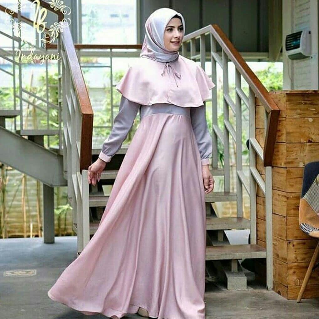 grosir baju model lebaran dress muslim syari gamis terbaru termurah best seller DEWI MAXY PR001 (Blue)