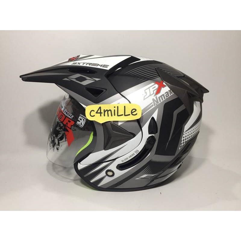 HELM JPX SUPERMOTO NMAX WHITE BLACK DOFF DOUBLE VISOR HALF FACE CROSS TRAIL
