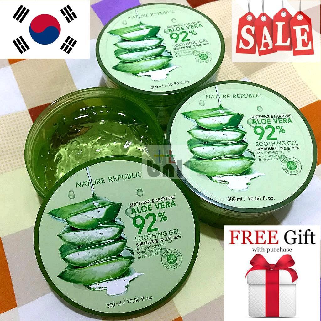 Krim Pelembam Wajah Cream Cr Original Pemutih Biru Nature Republic Aloe Vera 92 Soothing Gel 300ml