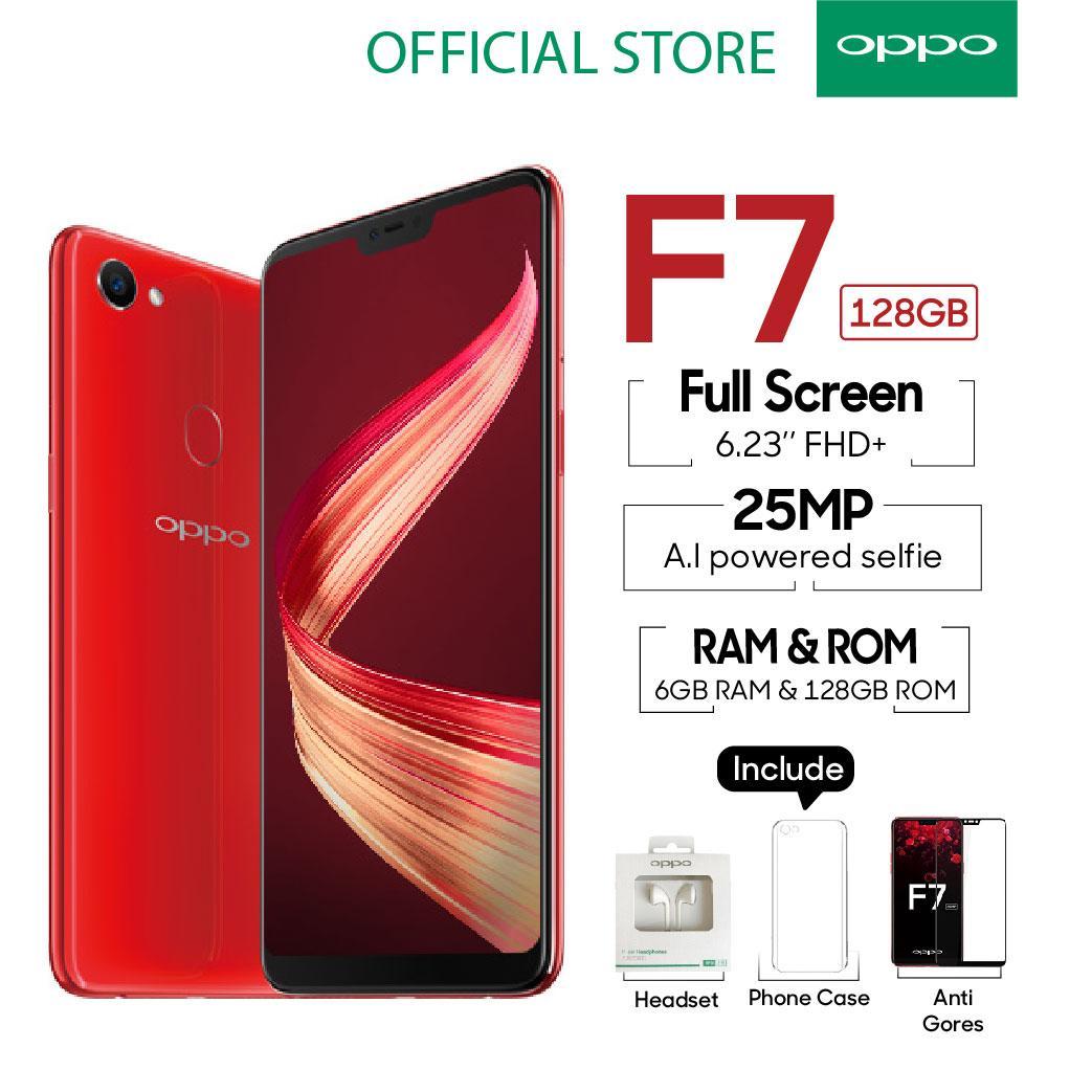 OPPO F7 Smartphone 25 MP AI Camera 6GB/128GB Red - (Cicil TANPA Kartu Kredit, Garansi Resmi Oppo Indonesia, Cicilan 0%)