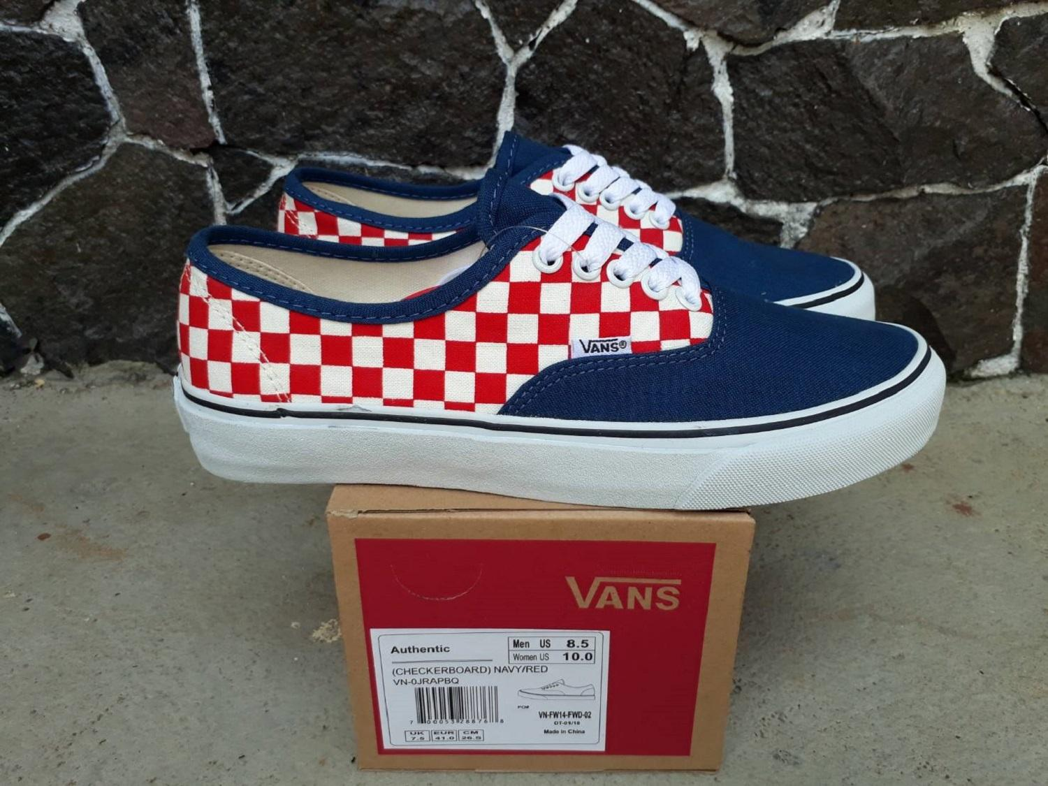 vns authentic checkerboard navy red wafle dt
