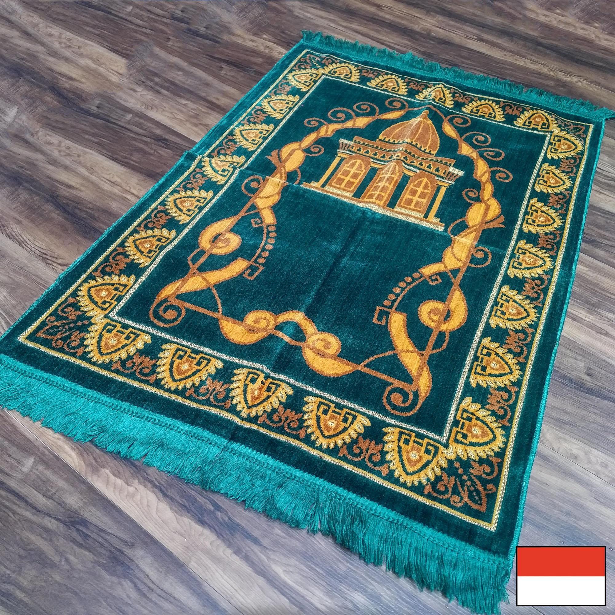 Nurtex - Sajadah Turki Beludru / Bulu Normal 70 cm x 110 cm - Hijau Masjid