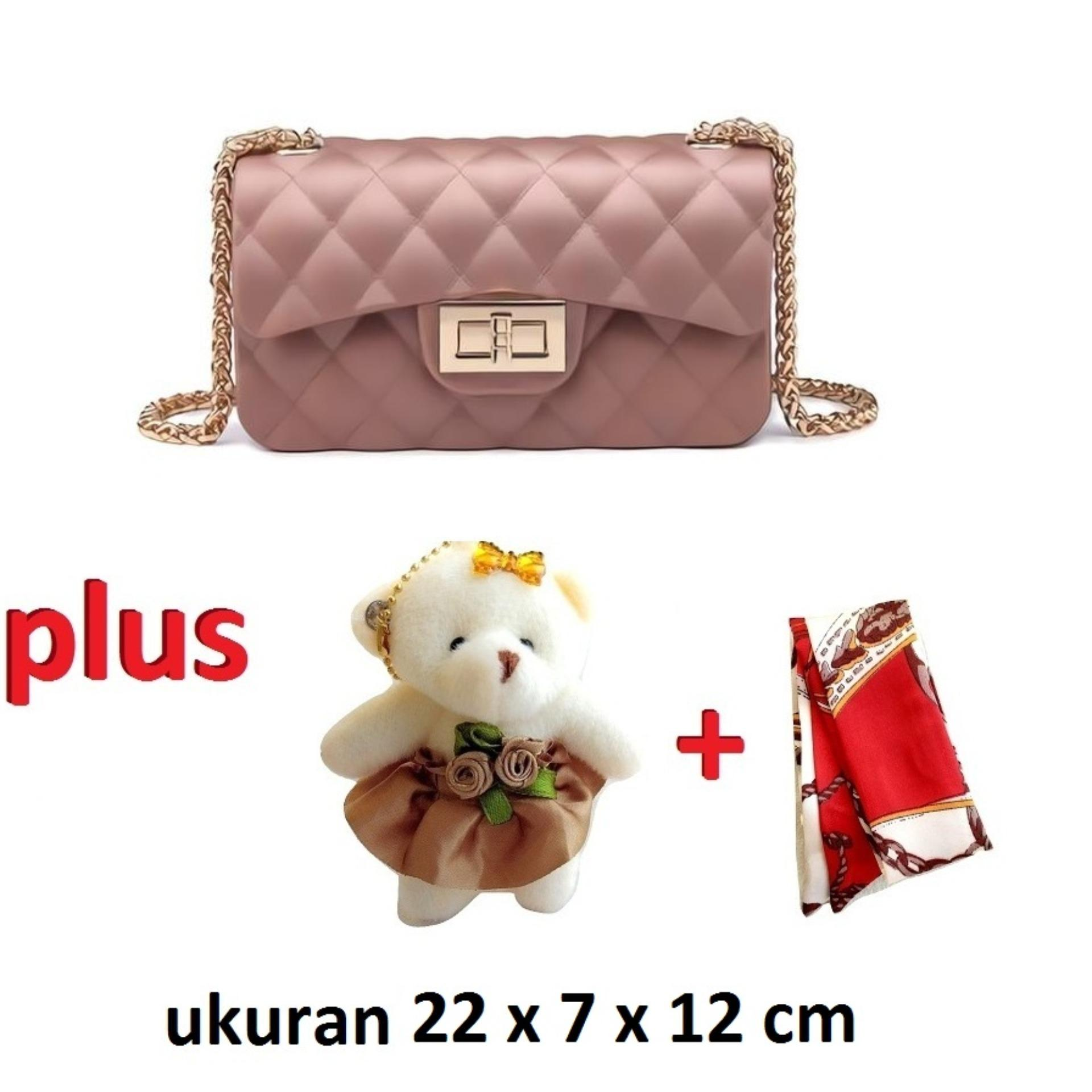 JCF Tas Import Jelly PREMIUM 22cm  Dove Matte Chevron PLUS Boneka Dan Syal Sling Mewah Cantik Teenager And Adult Mini Candy Bag Selempang Badan Anak Remaja Dan Wanita Dewasa  Fashion