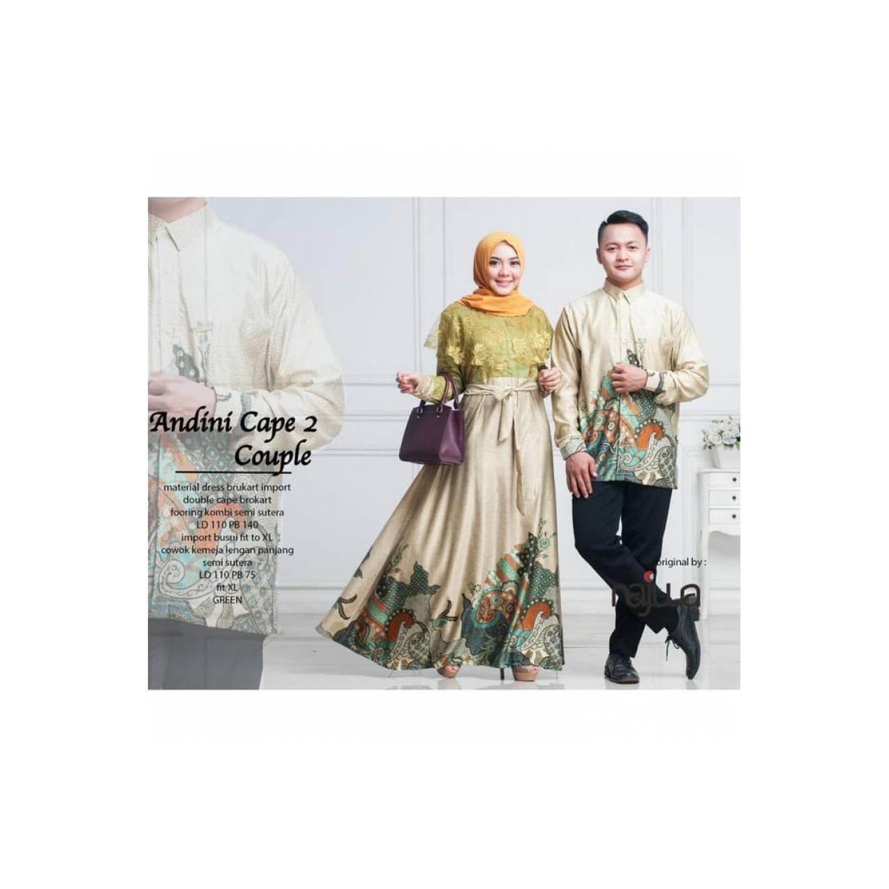 Baju Gamis Couple Andini Cape 2 Ori Najwa