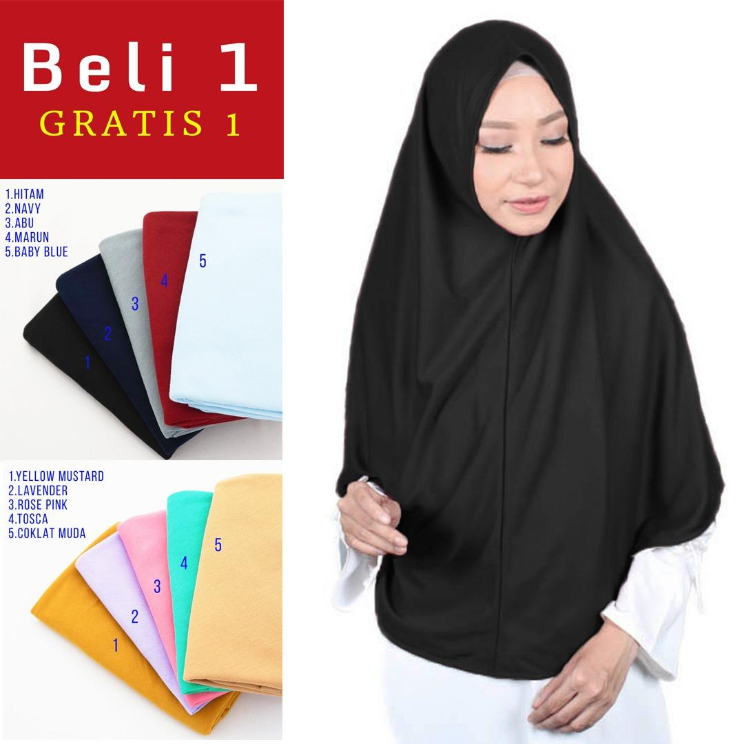 PROMO 1 Dapat 2 Jilbab XL Najwa Khimar Instan - Kerudung Hijab Instan XL Kaos Katun