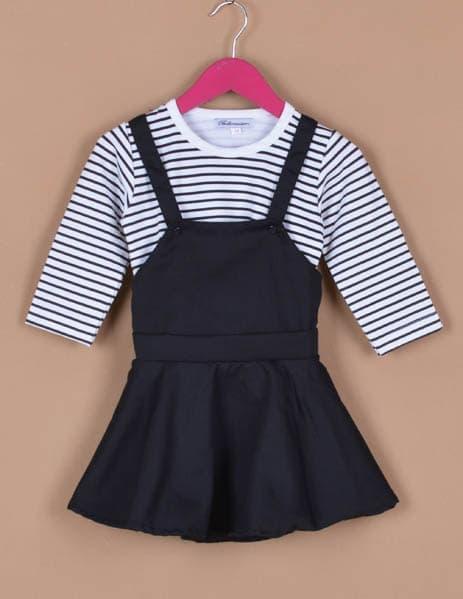 [ update terbaru ]  Baju Setelan Anak Bayi Perempuan Dress Overall Stripe Hitam Putih
