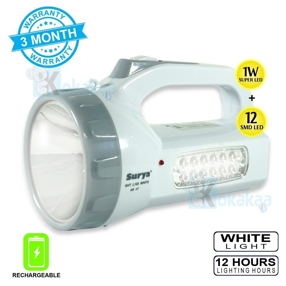 Rp 49.900. Surya Lampu Emergency SHT L163X White Senter Super LED 1 W + Light LED 12SMD Rechargeable 12 HoursIDR49900. Rp 50.000. EELIC QY-5800T 1W + 6 SMD ...
