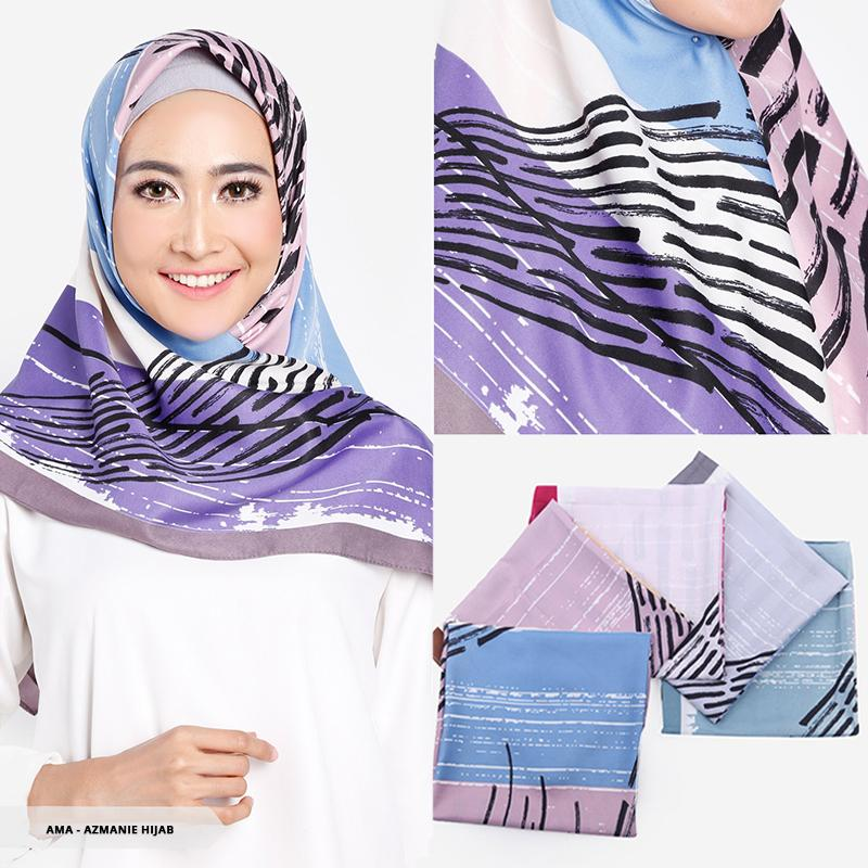 Azmanie Abstract Square Hijab-Turquoise